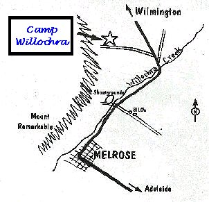 Map of location of Camp Willochra.