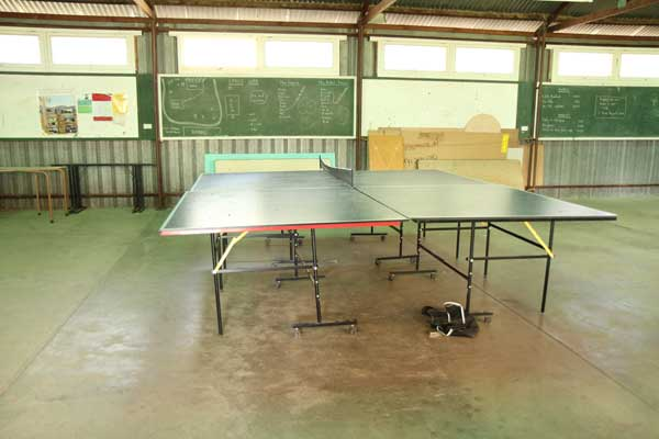 Table tennis tables inside Bishop Jones Hall